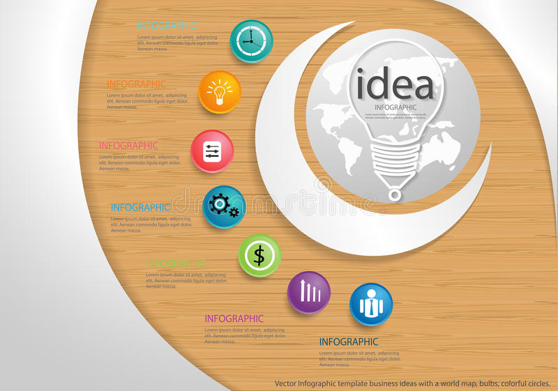 Vector Infographic template business ideas with a world map, bulbs, colorful circles. Infographic template business ideas with a world map, bulbs, colorful stock illustration