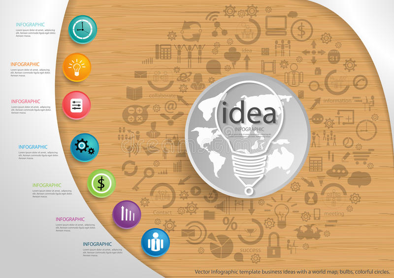 Vector Infographic template business ideas with a world map, bulbs, colorful circles. Infographic template business ideas with a world map, bulbs, colorful royalty free illustration