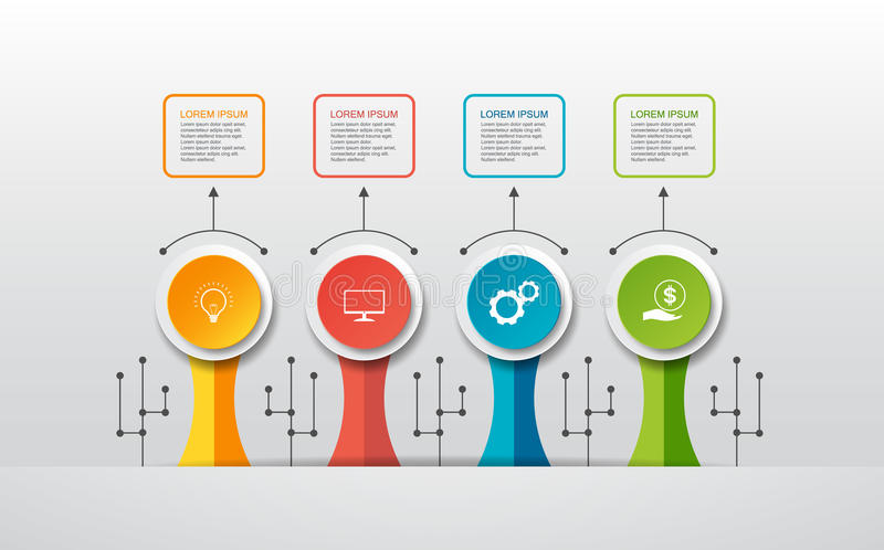 Vector infographic template with 3D paper label, integrated circles. Can be used for workflow layout, diagram, idea business step. Options, banner, web design vector illustration