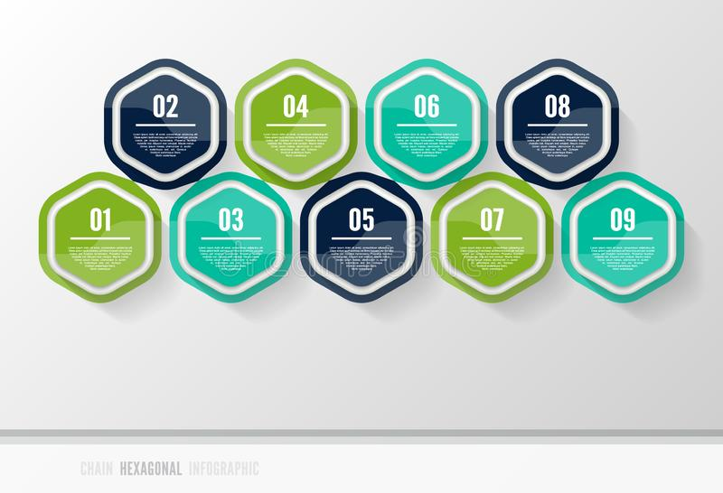 Vector infographic template for diagram, graph, presentation and chart. Business concept with 9 options, parts, steps or processes. Abstract background royalty free illustration