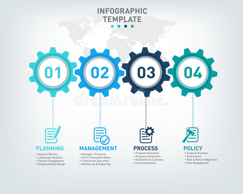 Vector Infographic Template With Gears And World Map Stock Vector - Map policy template