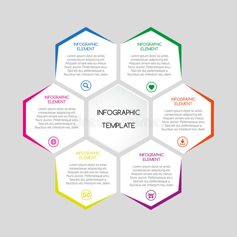 Vector infographic template with hexagons with text royalty free illustration