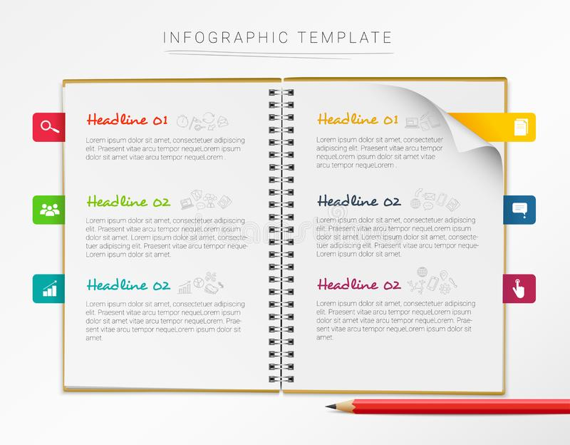 Vector infographic template with notebook and six colorful marks isolated on white background.  vector illustration
