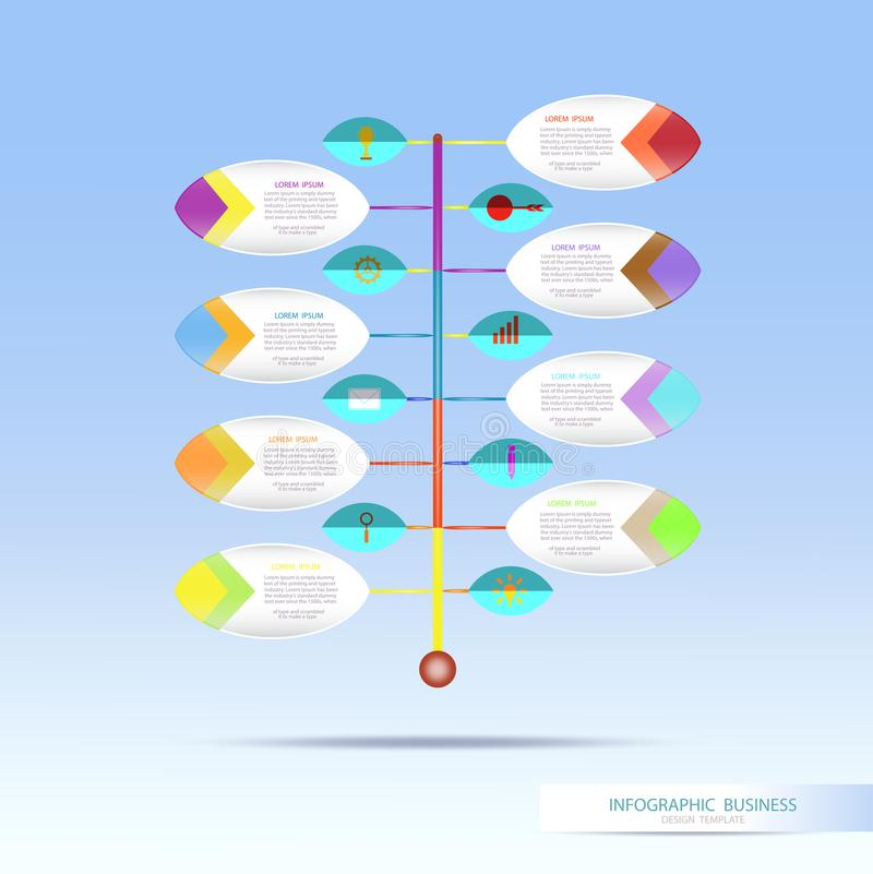 Vector infographic template with number 8 step, integrated circles. Business concept with options. For content, diagram, flowchart, steps, parts, timeline royalty free illustration