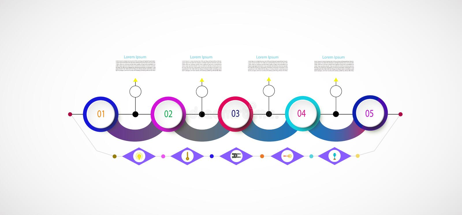 Vector infographic template with number 5 step. Integrated circles. Business concept with options. For content, diagram, flowchart, steps, parts, timeline vector illustration