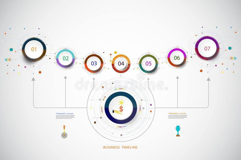 Vector infographic template with number 7 step. Vector infographic template with number 7 step, integrated circles. Business concept with options. For content stock illustration