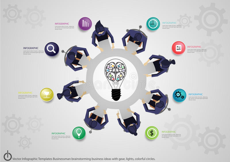 Vector Infographic Templates Businessman brainstorming business ideas with gear, lights, colorful circles. Infographic Templates Businessman brainstorming stock illustration