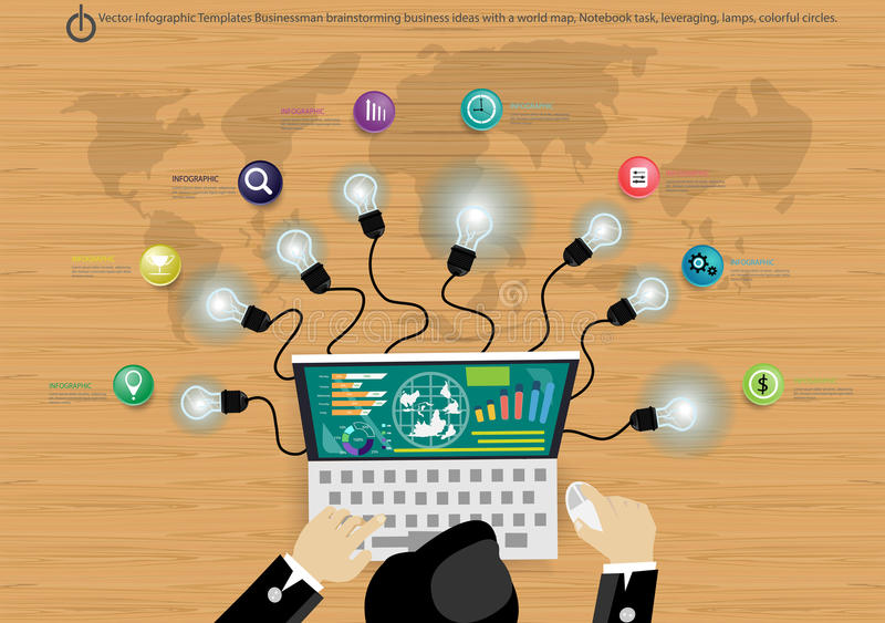 Vector Infographic Templates Businessman brainstorming business ideas with lamps, colorful circles. Infographic Templates Businessman brainstorming business stock illustration