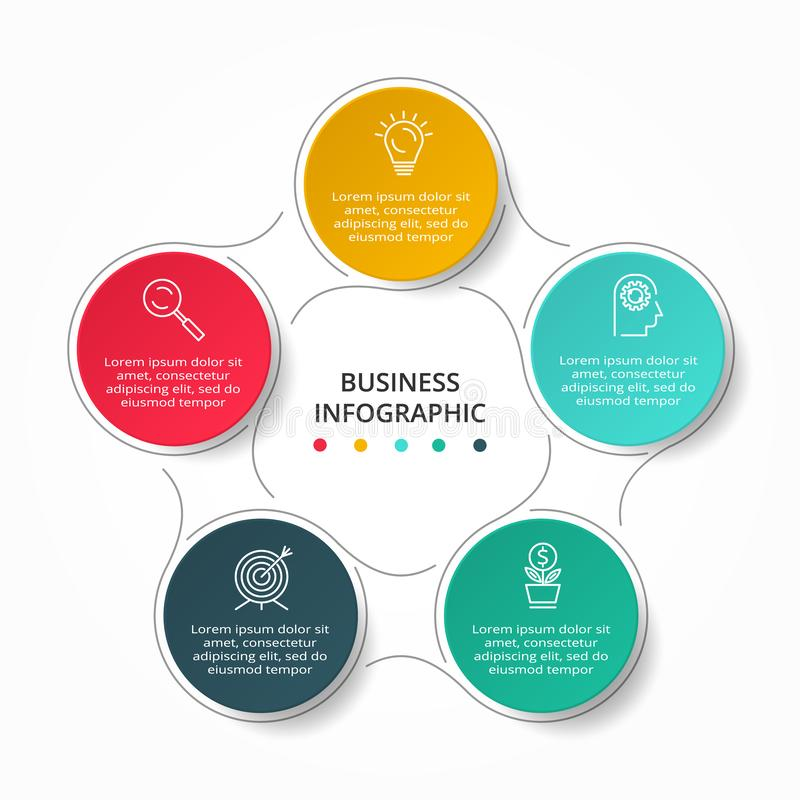 Vector Infographic thin line design with icons and 5 options or steps. Infographics for business concept stock illustration
