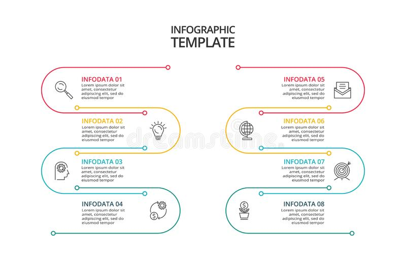 Vector Infographic thin line design with icons and 8 options or steps. Infographics for business concept royalty free illustration