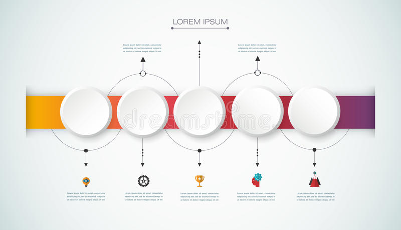 Vector infographic timeline with 3D paper label, integrated circles background. Vector infographics design template with 3D paper label, integrated circles royalty free illustration