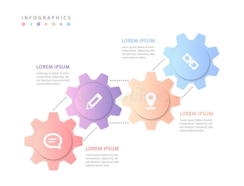 Vector infographic van het de gradi?nttoestel van het ontwerpui malplaatje kleurrijke het wieletiketten en pictogrammen royalty-vrije illustratie