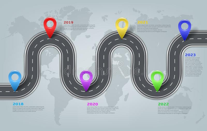 Vector infographic world map, road timeline layout vector illustration