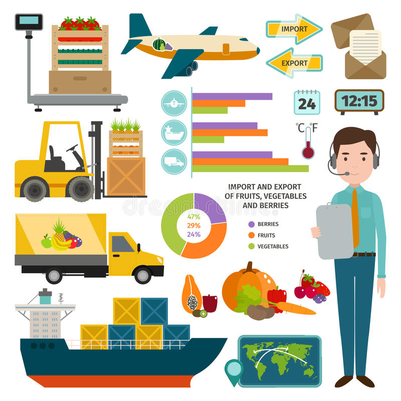 Vector infographic of worldwide shipping fruits. vector illustration