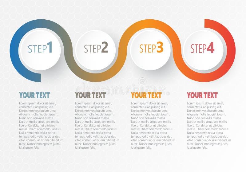 Vector infographic Zaken voor chronologie met 4 stappenetiketten stock illustratie