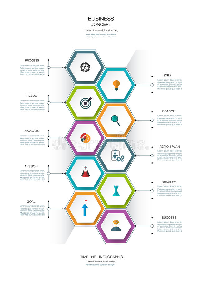 Vector infographics design template with 3D paper label. Vector infographics timeline design template with 3D paper lable, integrated hexagon for 10 steps and vector illustration