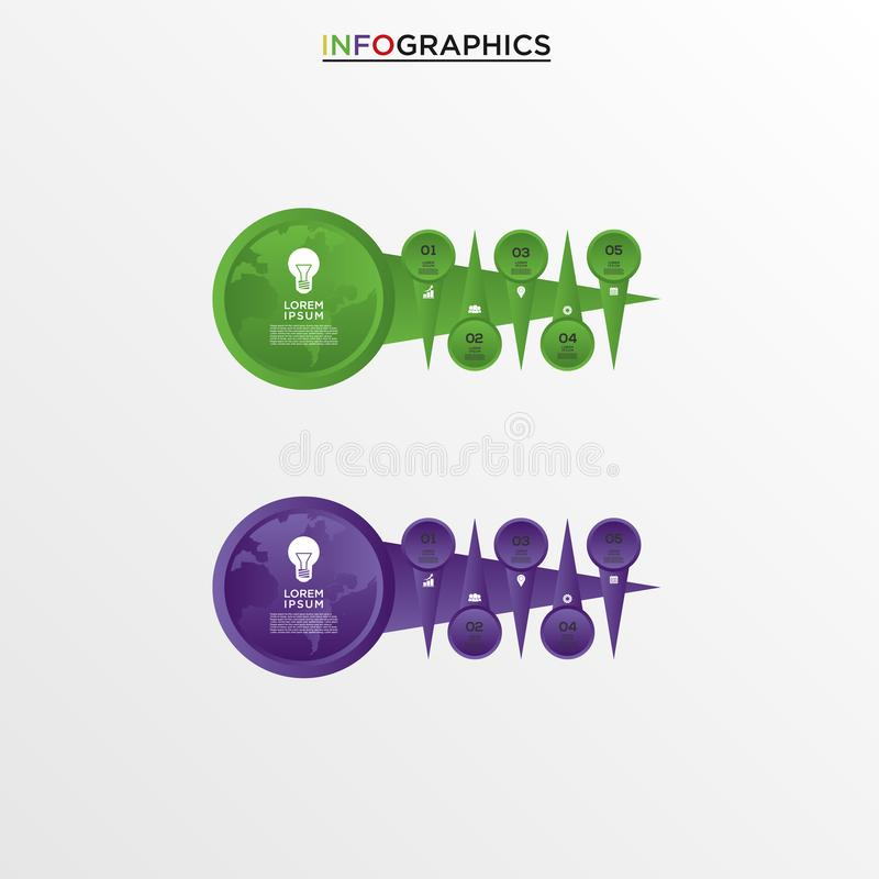 Basic RGB. Vector infographics design template, integrated circles background. Blank space for content, business, infographic, diagram, digital network royalty free illustration