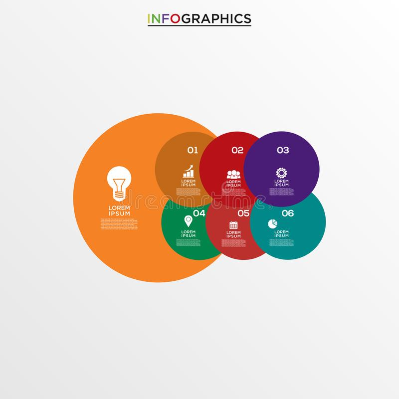 Basic RGB. Vector infographics design template, integrated circles background. Blank space for content, business, infographic, diagram, digital network vector illustration