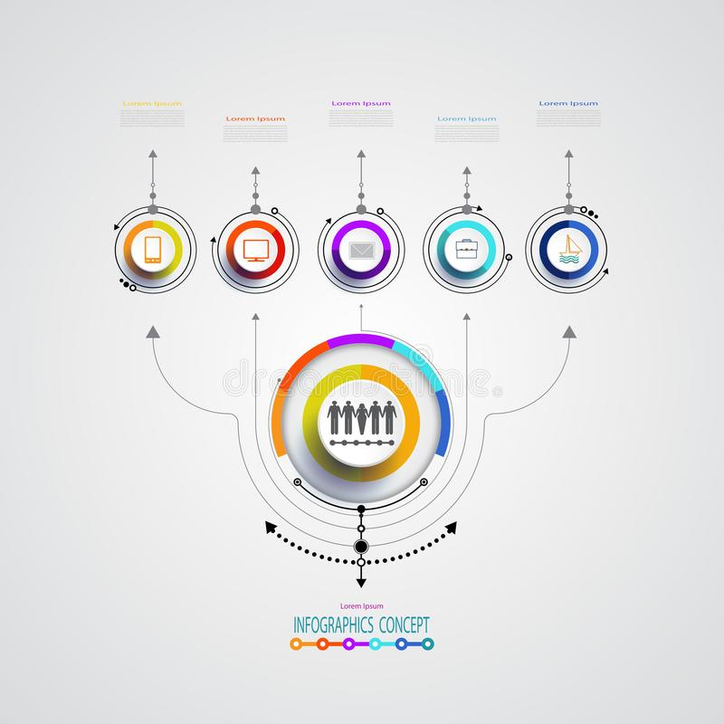Vector infographics design template integrated circles for business. stock illustration