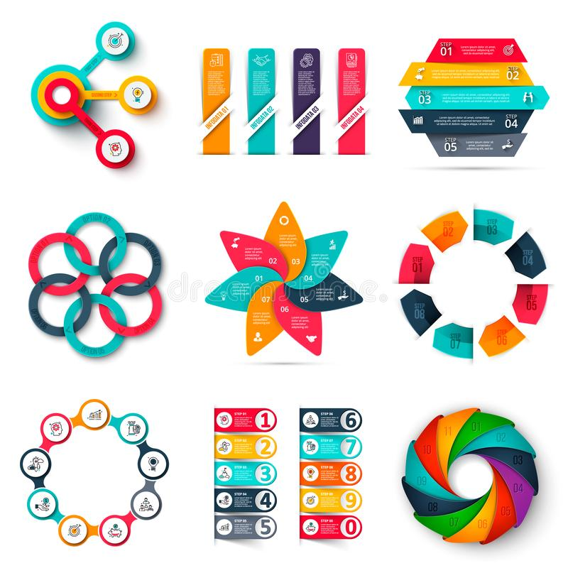 Vector infographics design template set. Business concept with 3, 4, 5, 6, 7, 8, 9 and 10 options, parts, steps or royalty free illustration