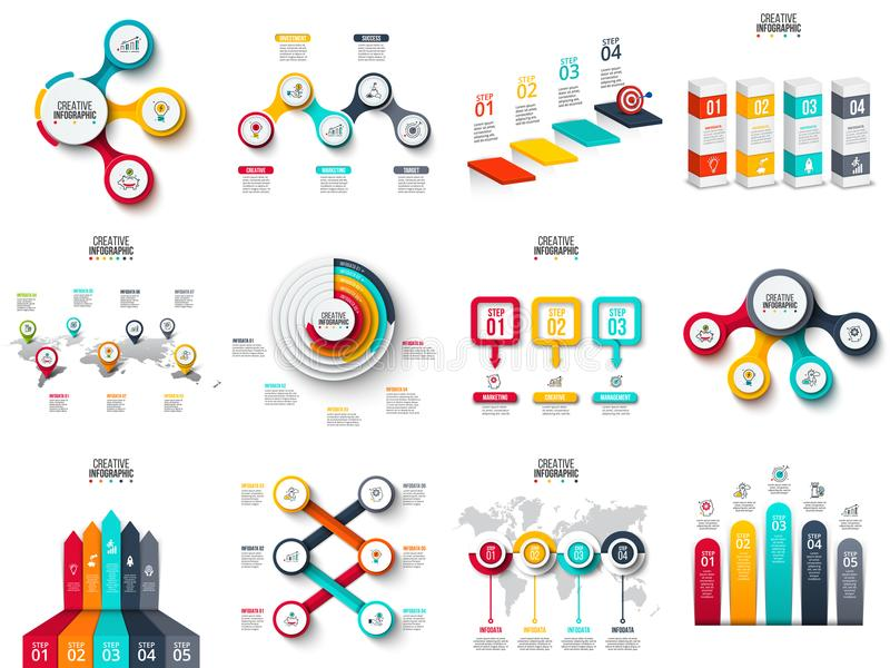 Vector infographics, diagram, chart, graph and presentation. Arrows, circles, target, columns, map and timeline. royalty free illustration