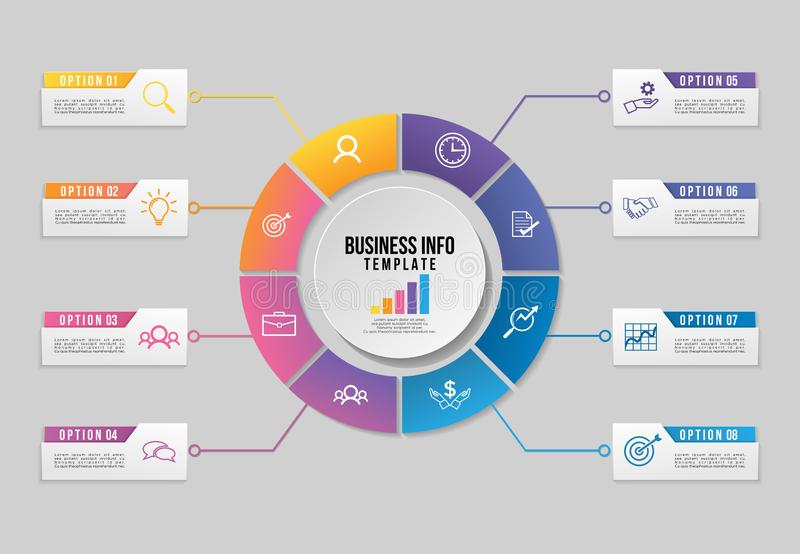 Vector Infographics Elements Template Design. Business Data Visualization Timeline with Marketing Icons most useful can be used. For presentation, diagrams vector illustration