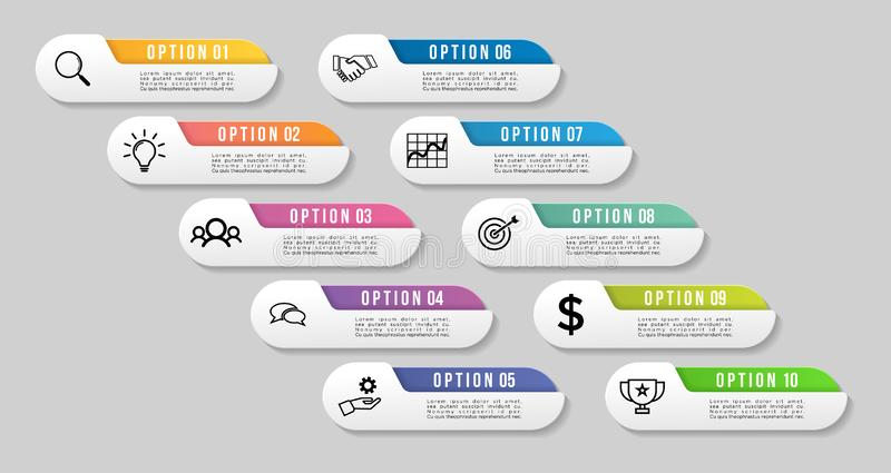 Vector Infographics Elements Template Design. Business Data Visualization Timeline with Marketing Icons most useful can be used. For presentation, diagrams stock illustration