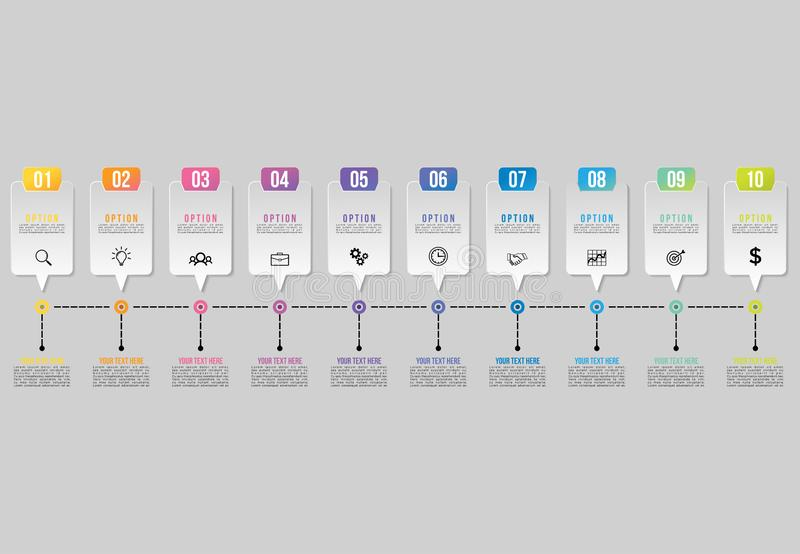 Vector Infographics Elements Template Design . Business Data Visualization Timeline with Marketing Icons most useful can be used f stock illustration