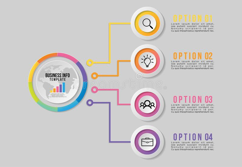 Vector Infographics Elements Template Design . Business Data Visualization Timeline with Marketing Icons most useful can be used f. Vector infographics elements royalty free illustration