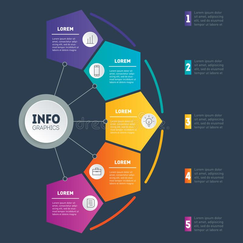 Vector infographics or mind map of technology or education process. Web Template of a chart, mindmap or diagram. Business present. Ation or infographic with 5 vector illustration