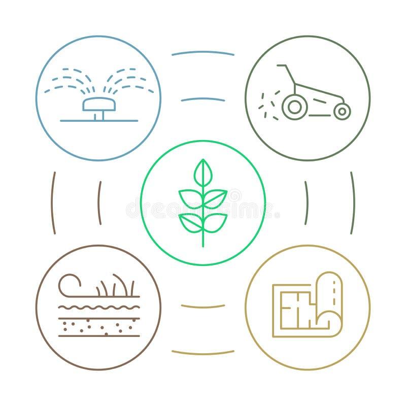 Vector infographics mit Gartenarbeitbuntem Konzept infographics kreis der linearen Illustration für Landschaftsgestaltungsgeschäf lizenzfreie abbildung