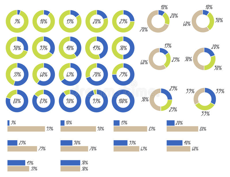 vector infographics: pie charts 5%, 10%, 15%, 20%, 25%, 30%, 35%, 40%, 45%, 50%, 55%, 60%, 65%, 70%, 75%, 80%, 85%, 90%, 95%, 100 royalty free illustration