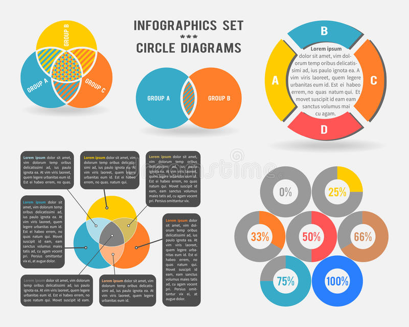 Vector infographics set of circle diagrams stock illustration