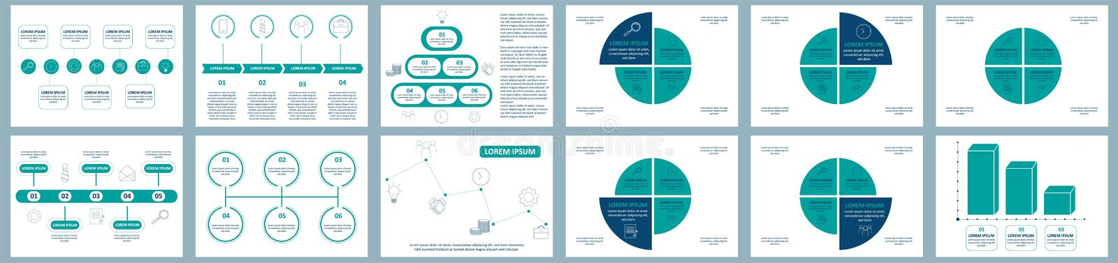 Vector infographics set. Collection of templates for cycle diagram, graph, presentation and round chart. Business concept with stock illustration