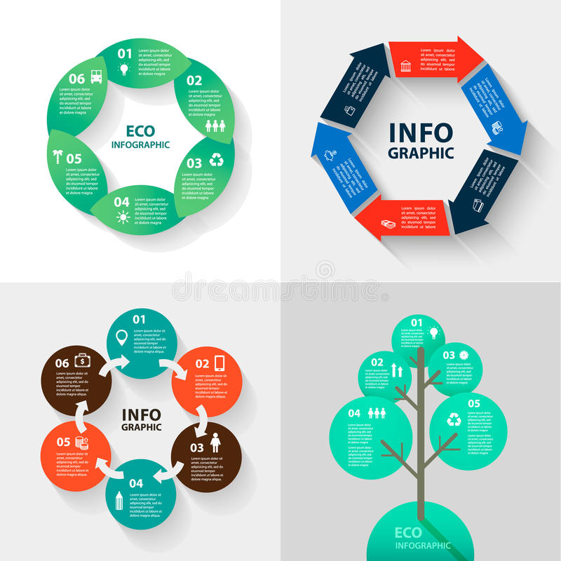 Vector infographics set - eco and business. Collection of templates for cycle diagram, graph, presentation round chart. stock illustration