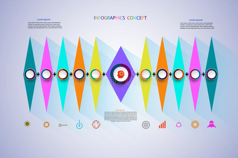 Vector infographics timeline design template for business concept and icons. stock illustration