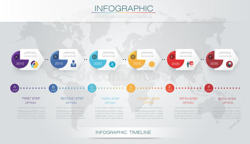 Vector infographics timeline design template. With 3D paper label and graph 6 steps options. For workflow layout diagram, infograph business, infographic royalty free illustration