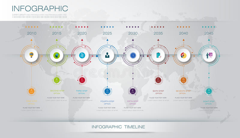 Vector infographics timeline design template. With 3D paper label and graph 8 steps options. For workflow layout diagram, infograph business, infographic stock illustration