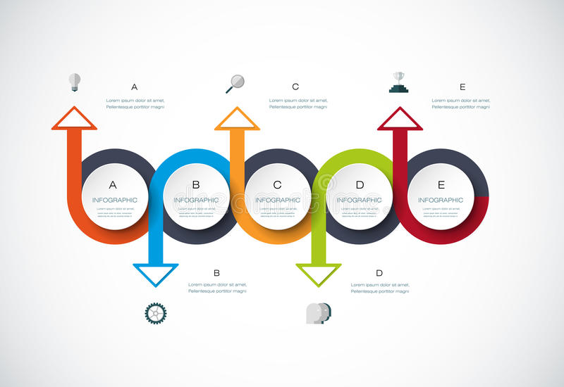 Vector infographics timeline design template. With 3D paper label, integrated circles background. Blank space for content, business, infographic, diagram stock illustration