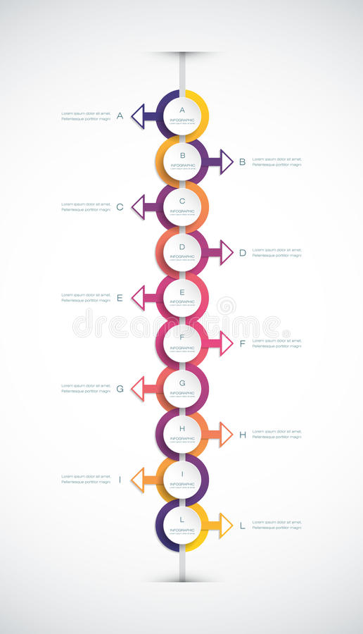 Vector infographics timeline design template. With 3D paper label, integrated circles background. Blank space for content, business, infographic, diagram royalty free illustration