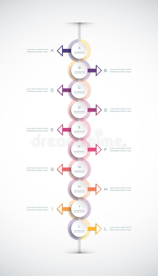 Vector infographics timeline design template. With 3D paper label, integrated circles background. Blank space for content, business, infographic, diagram vector illustration