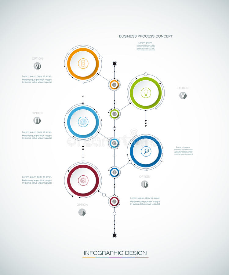 Vector infographics timeline design template with 3D paper label. Integrated circles background. Blank space for content, business, infographic, diagram vector illustration
