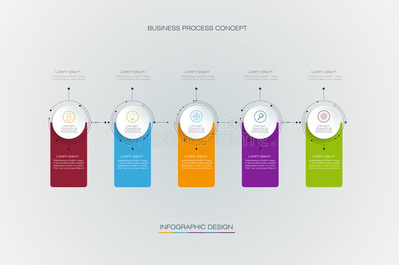 Vector infographics timeline design template with label design. And icons, 5 options or steps. Can be used for content, business, process infographics, diagram royalty free illustration