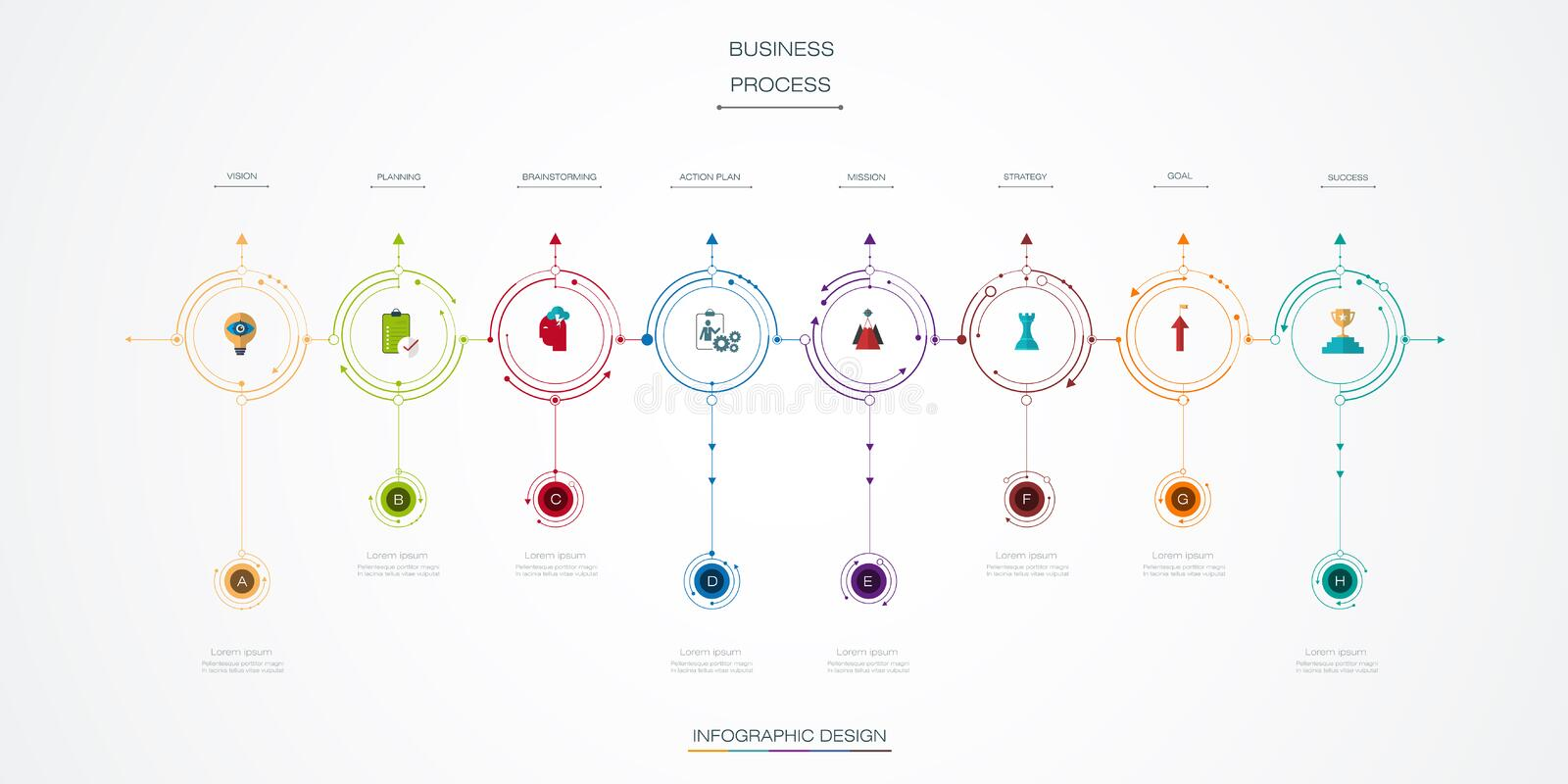 Vector infographics timeline design. Template with 8 option and integrated circles background. Blank space for content, business, infographic, diagram, digital vector illustration