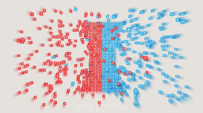 Vector a informação de dados grande colorida abstrata que classifica o visualização Rede social, análise financeira do complexo ilustração do vetor