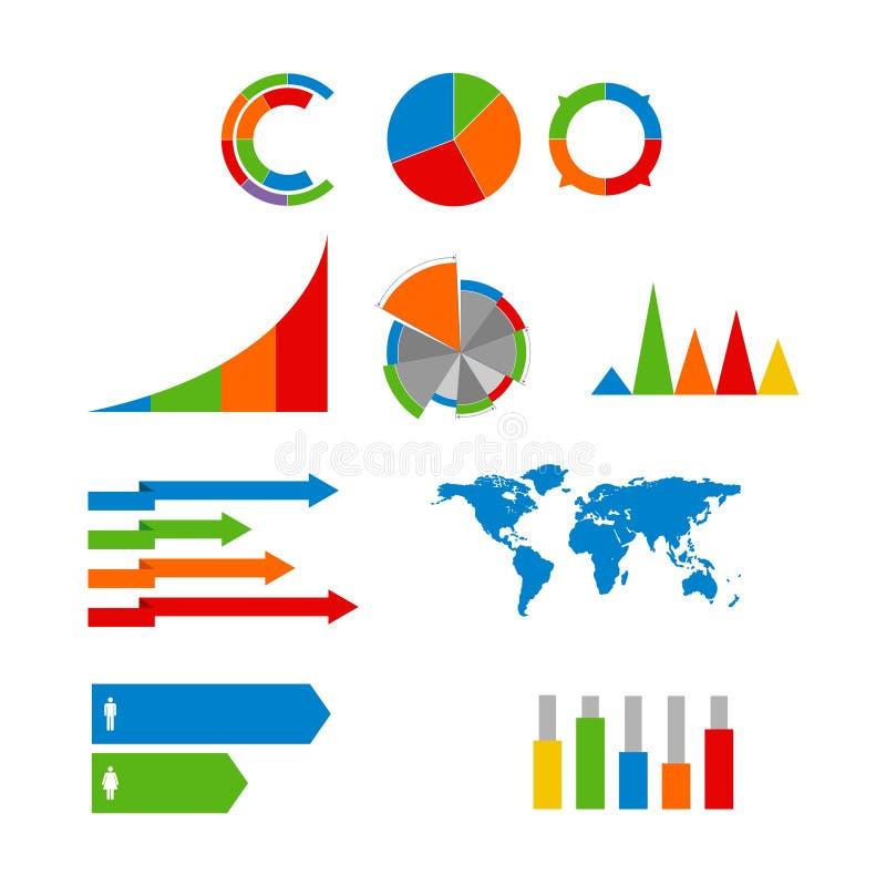 Vector informatie-grafische geplaatste elementen stock illustratie