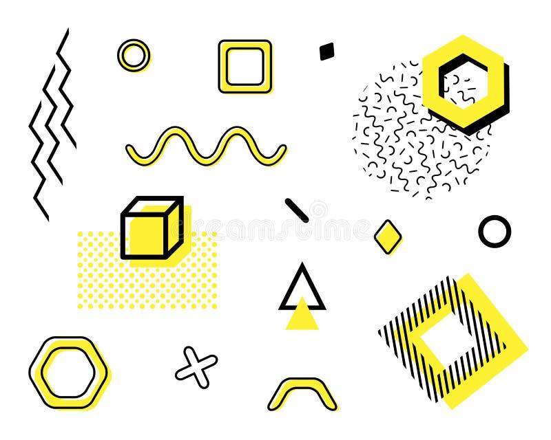 Vector ingesteld met trendgeometrische vormen Retro funky-afbeelding, 90s- en 80s-ontwerpelementen voor magazijn, brochure, billb stock illustratie