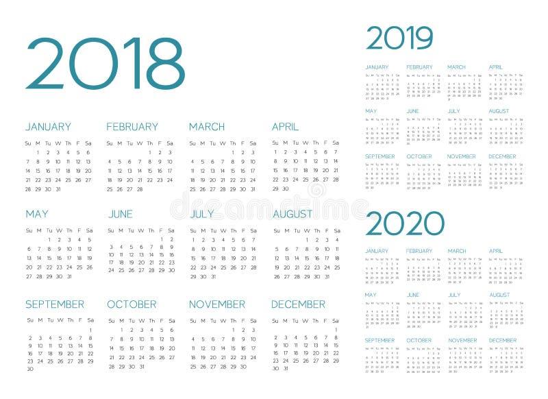 Vector inglés del calendario 2018-2019-2020 ilustración del vector