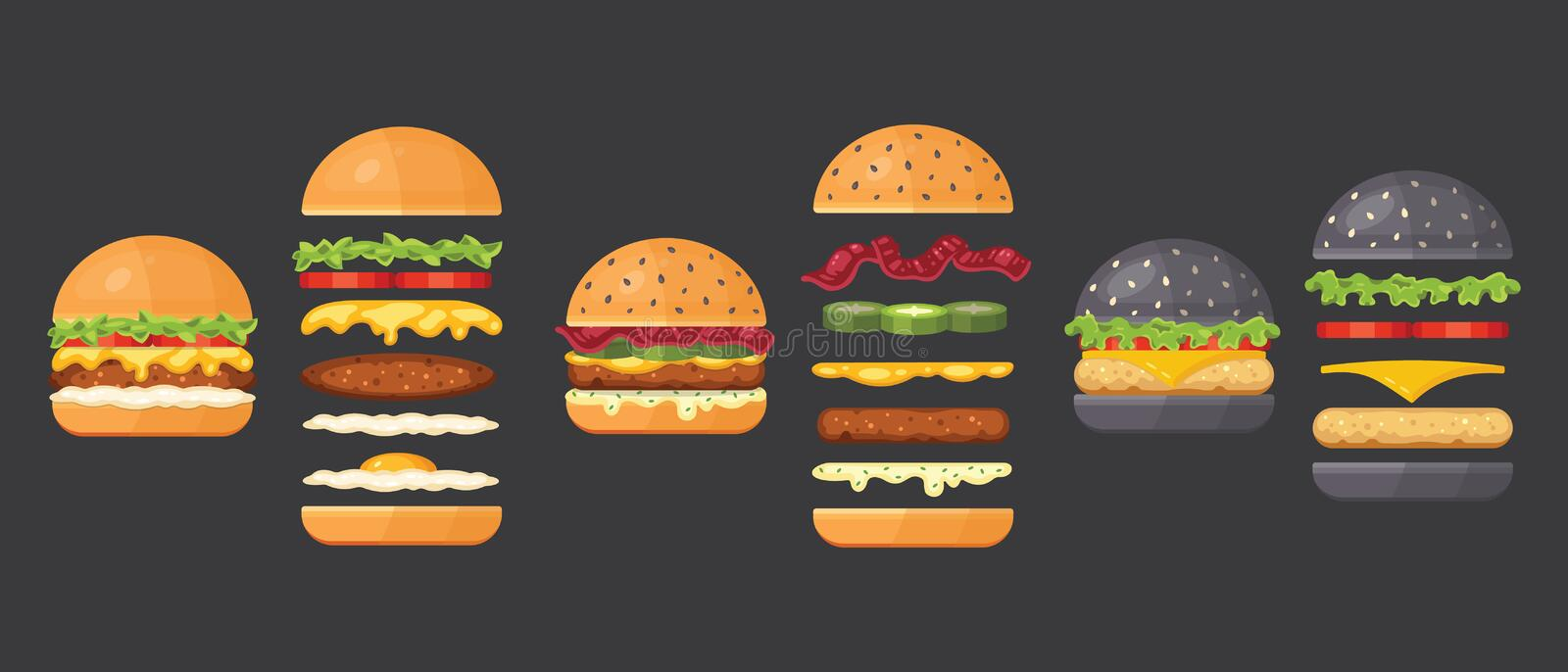 Vector ingredients for classic burger isolated on white. Ingredients bun, cutlet, cheese, bacon, sauce, buns, tomato royalty free stock image