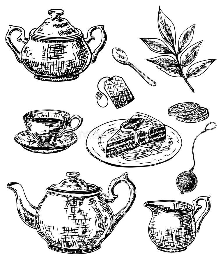 Vector ink hand drawn sketch style tea set vector illustration